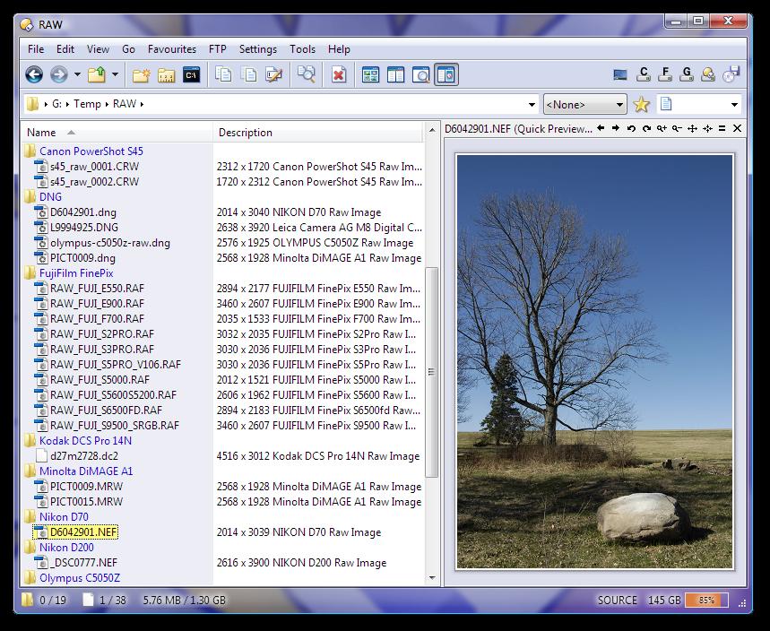 Raw Digital Camera Viewer Plugin for Directory Opus